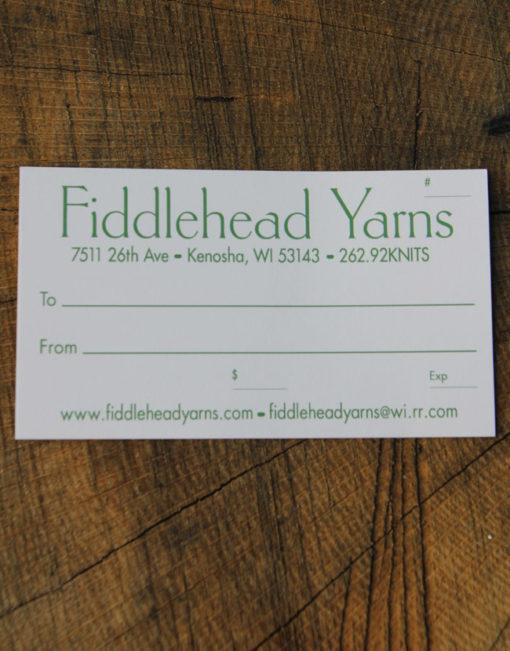 Fiddlehead Yarns Gift Certificate